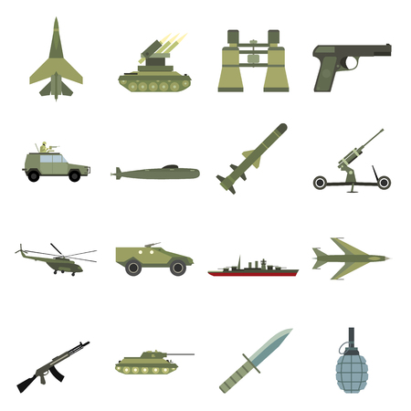 battleship: 16 weapon flat icons set.  Color illustrations with military truck helicopter and ship