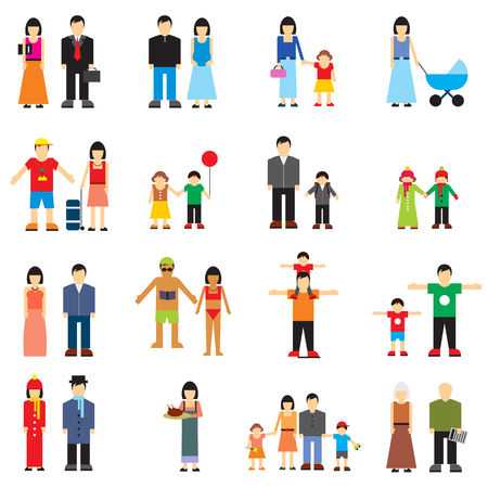 father and son holding hands: Family flat icons set. Story from childhood to old age Illustration