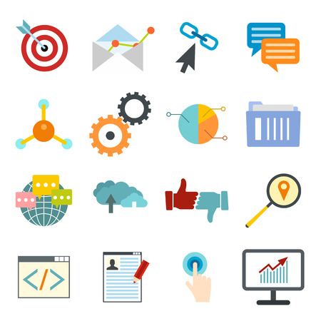 seo optimization: Seo web flat icon for web and mobile devices Illustration