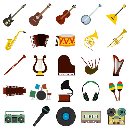 tuning fork: Music flat icons set for web and mobile device Illustration