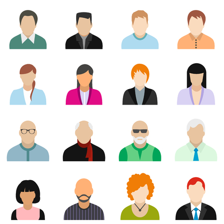 16 characters flat icons set. Colored illustration Illustration