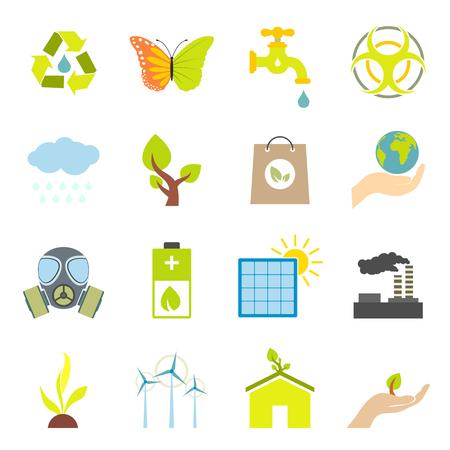 ecology icons: Universal ecology flat icons set. 16 color symbols