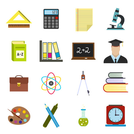 tele: Education flat icons set for web and mobile devices Illustration