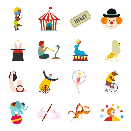 circus caravan: Circus flat icons set for web and mobile devices Illustration