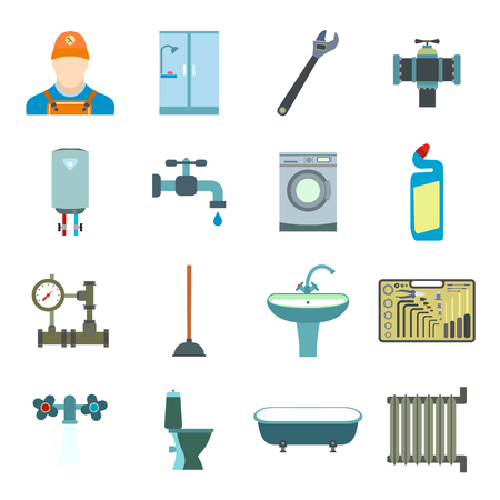 sanitary engineering: Sanitary engineering flat icons set for web and mobile devices Illustration