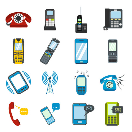 mobile devices: Phone flat icons set for web and mobile devices Illustration