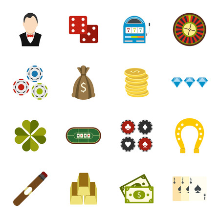 casino machine: Casino flat icons set for web and mobile devices