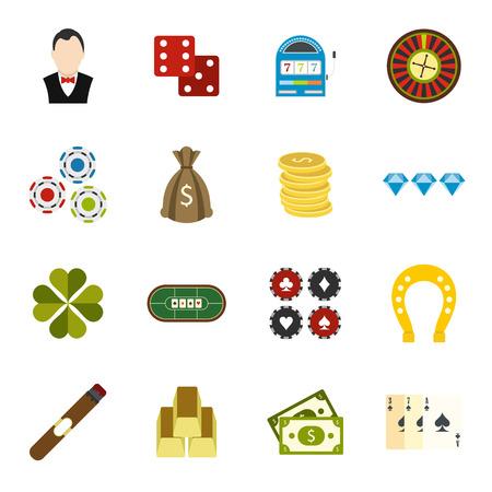 maquinas tragamonedas: iconos planos del casino fijados para dispositivos m�viles y web