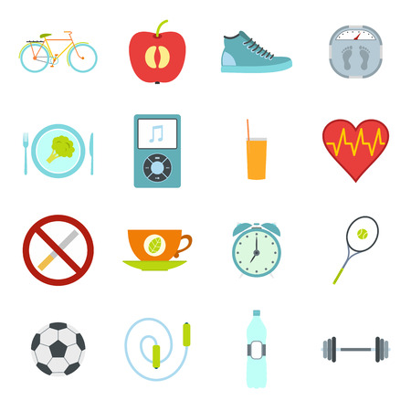life style: Healthy style life flat icons set. Healthy food, sport, shedule symbols with long shadows Illustration