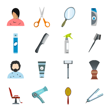 hair clippers: Hairdressing flat icons set. Colored symbols with shadows