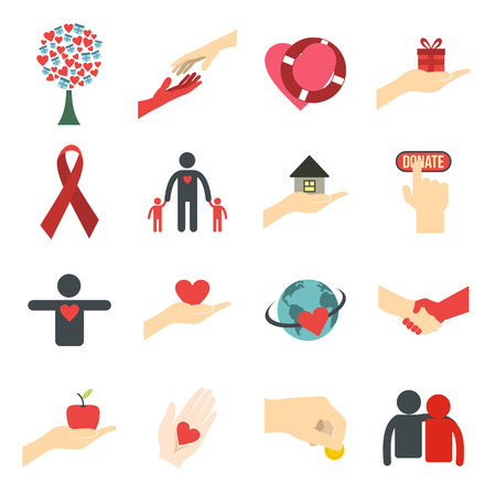 care in the community: Charity flat icons. Donation icons for web and mobile devices