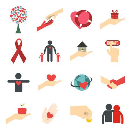 comunidad: iconos planos caridad. Iconos de donación para la web y dispositivos móviles Vectores