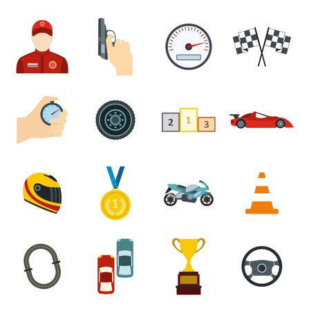 time drive: Car racing flat icons set for web and mobile devices