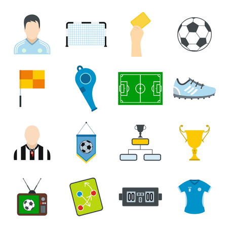 football shoe: Soccer flat icons set for web and mobile devices