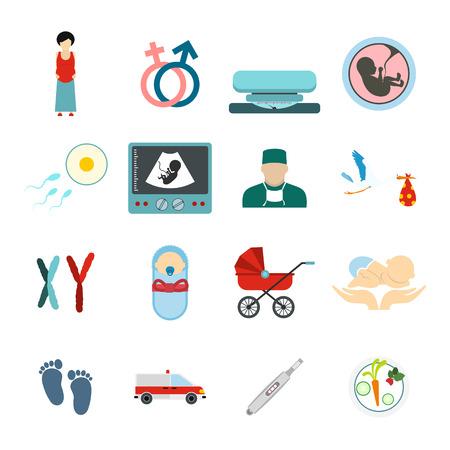 prueba de embarazo: Embarazo iconos planos establecidos para los dispositivos móviles y la web