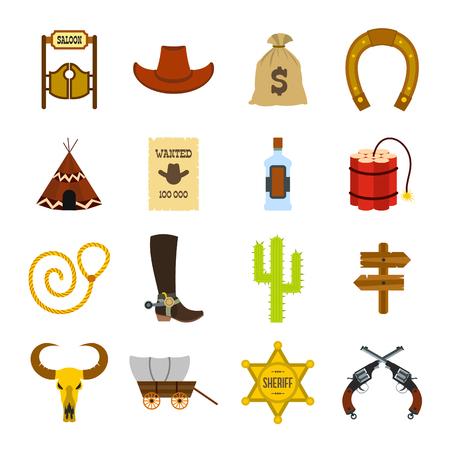 vaquero: Iconos planos de vaquero del oeste salvaje establecidos para dispositivos web y m�viles