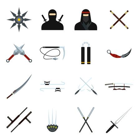 mortal: Ninja flat icons set for web and mobile devices