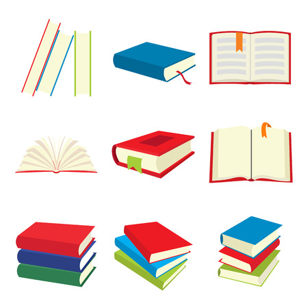 read book: Book icons set isolated on white background