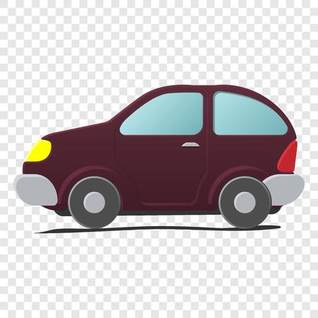 mini car: Cartoon little car. Mini car. Single cartoon symbol on transparent background Illustration