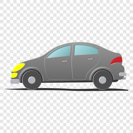ハッチバック車。透明な背景の漫画イラスト