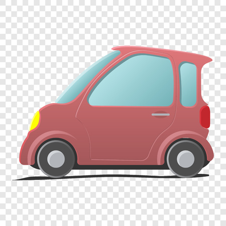 Mini car. Single pink cartoon symbol on transparent background