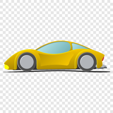 Cartoon yellow sportscar. Illustration isolated on transparent background