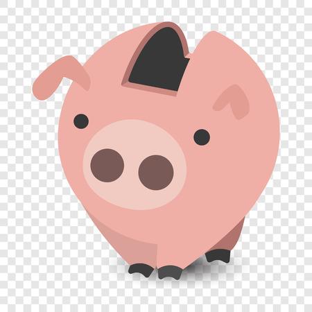 design design elemnt: Piggy bank cartoon illustration on transparent background