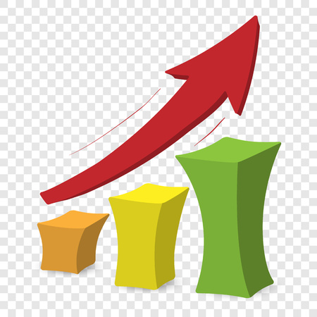 increase visibility: Chart with arrow. Colorful cartoon illustration on transparent background Illustration