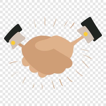 stretta mano: Stretta di mano cartone animato. simbolo colorato su sfondo trasparente Vettoriali
