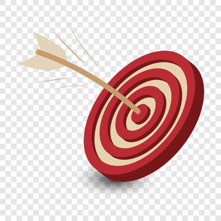 Dart in the target. Cartoon red and white iillustration on transparent background Vectores