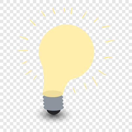 symbol yellow: Light bulb cartoon symbol. Yellow lamp illustration on transparent background Illustration
