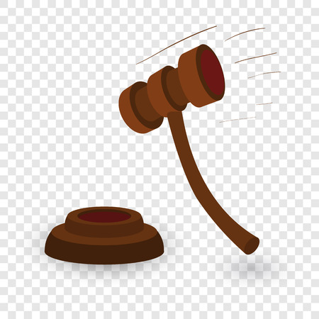 Gavel cartoon illustration. Single symbol on transparent background