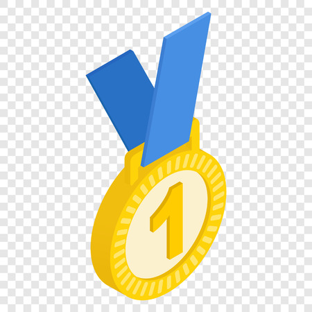 medal: First place medal isometric 3d icon on transparent background