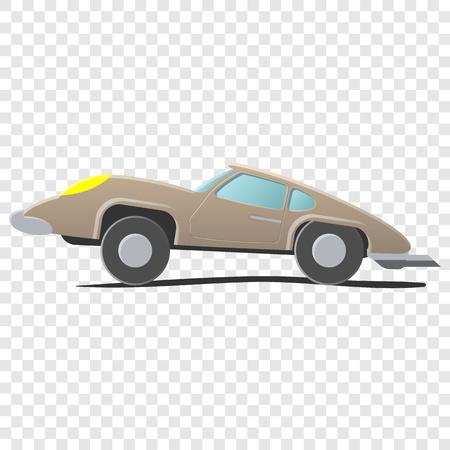 autosport: Retro cartoon car. Illustration on transparent background