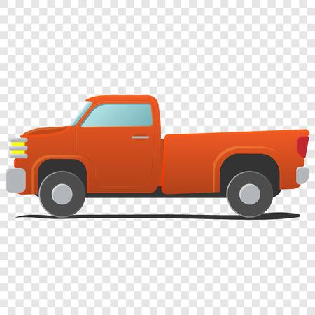country side: Pickup - cartoon car. Single orange illustration on transparent background