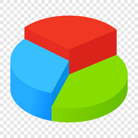 stock chart: Isometric 3d pie chart icon on transparent background