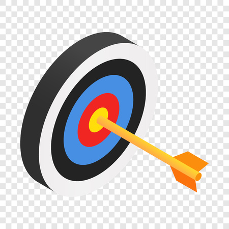 dart on target: Arrow in target isometric 3d icon on transparent background Illustration