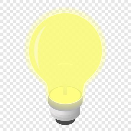 lamp outline: Light bulb isometric 3d icon on transparent background Illustration