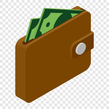 e wallet: Wallet and money isometric 3d icon on transparent background