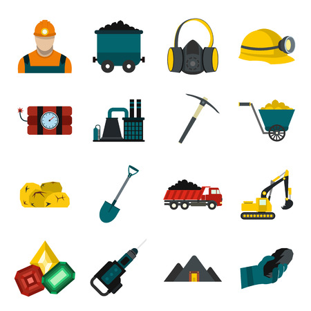 Mining icons flat set with miner hammer truck bulldozer