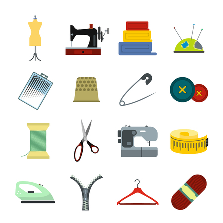 maquinas de coser: Costura plana icono para web y dispositivos móviles Vectores