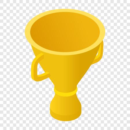 trofeo: Trofeo de la taza del icono 3D isométrico en el fondo transparente