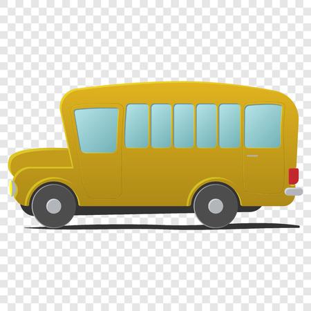 Jaune bande dessinée d'autobus scolaire. Simple illustration isolé sur fond transparent