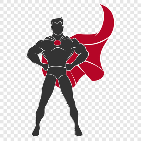 透明な背景でコミック スタイルで防御的なスタンスでスーパー ヒーローの立っています。