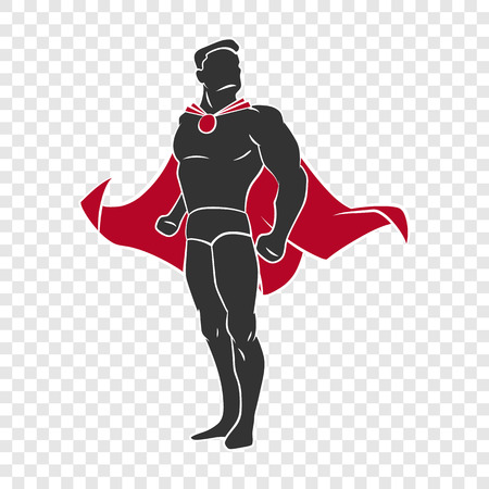 Superhero in comics style on transparent background