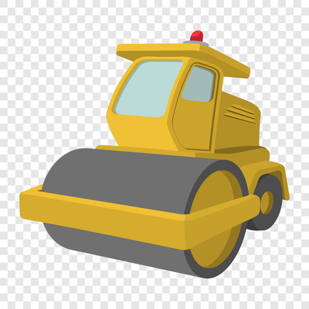 compactor: Yellow paver cartoon illustration. Single icon on transparent background Illustration