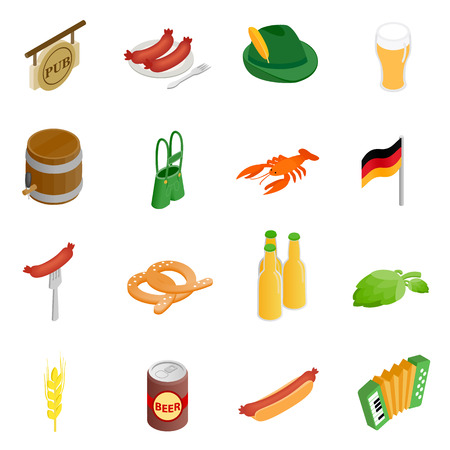3d icons: Oktoberfest party isometric 3d icons isolated on white background