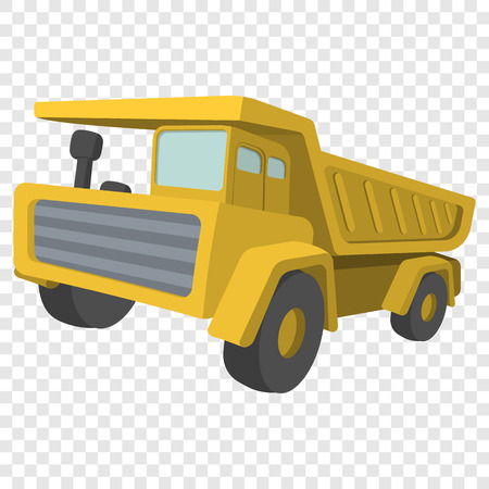tipper: Building truck. Tipper cartoon illustration. Single icon on transparent background