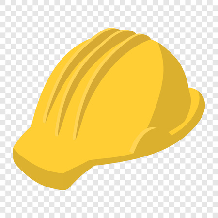 helmet: Yellow safety helmet cartoon illustration. Single symbol on transparent background