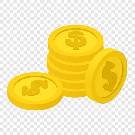 Monedas isométrica icono 3d en el fondo transparente